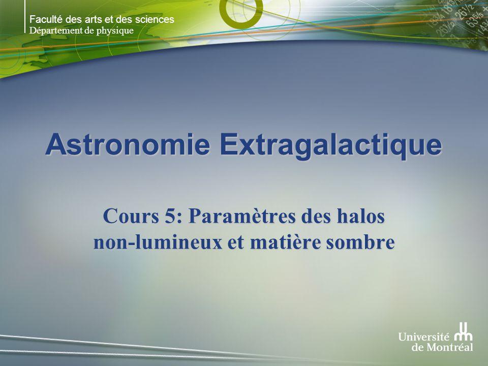 Faculté des arts et des sciences Département de physique Astronomie Extragalactique Cours 5: Paramètres des halos non-lumineux et matière sombre