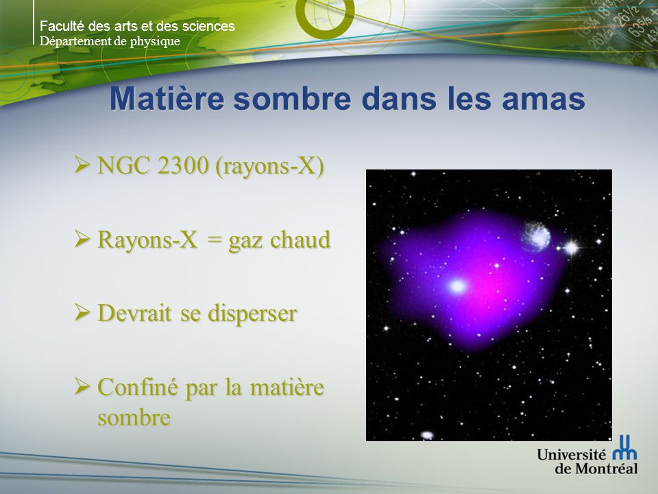 Faculté des arts et des sciences Département de physique Matière sombre dans les amas NGC 2300 (rayons-X) NGC 2300 (rayons-X) Rayons-X = gaz chaud Ray