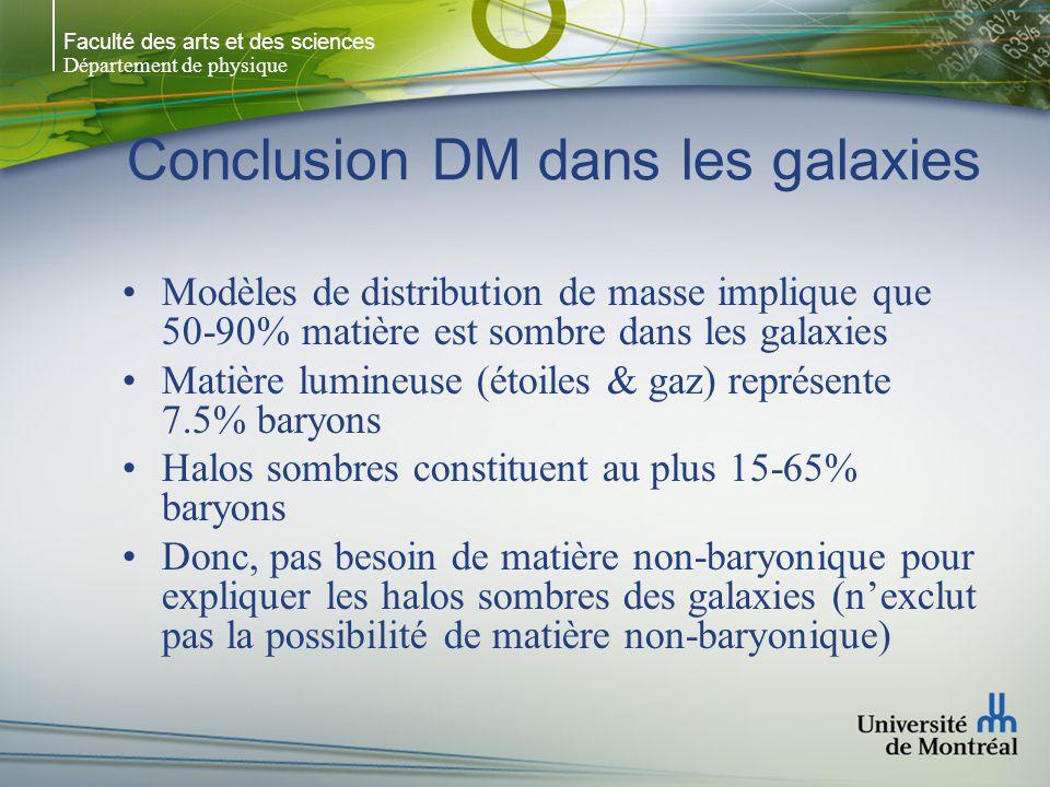 Faculté des arts et des sciences Département de physique Conclusion DM dans les galaxies Modèles de distribution de masse implique que 50-90% matière