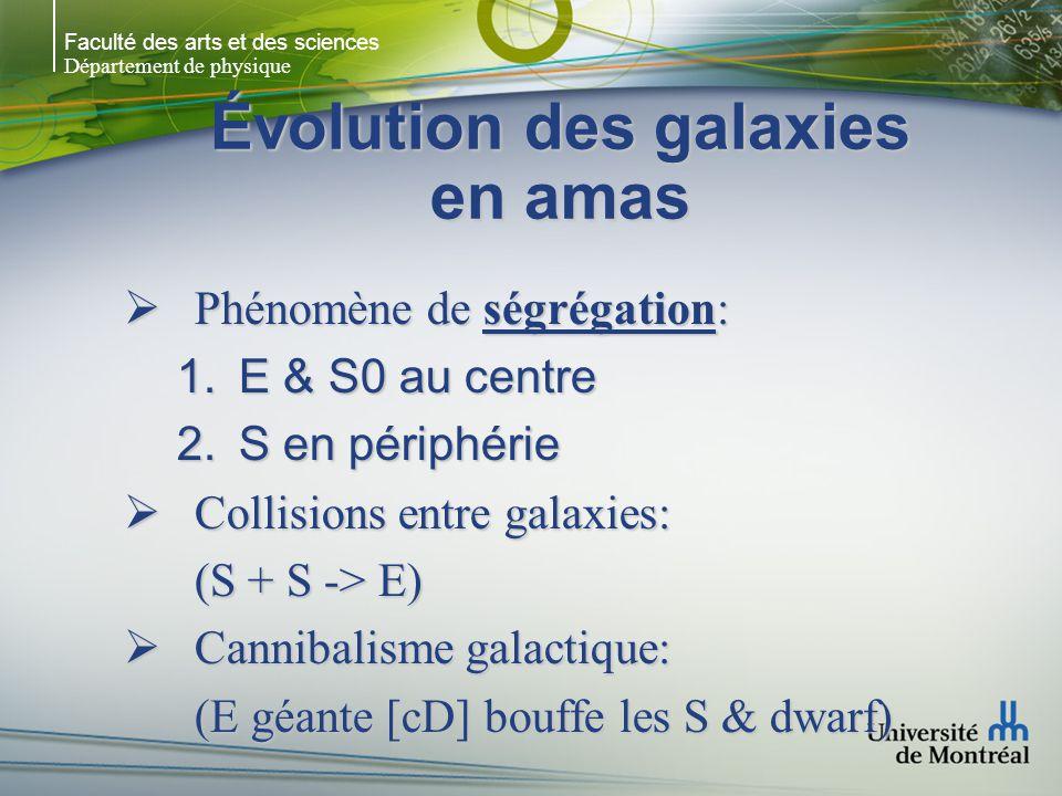 Faculté des arts et des sciences Département de physique Évolution des galaxies en amas Phénomène de ségrégation: Phénomène de ségrégation: 1.E & S0 au centre 2.S en périphérie Collisions entre galaxies: Collisions entre galaxies: (S + S -> E) Cannibalisme galactique: Cannibalisme galactique: (E géante [cD] bouffe les S & dwarf)