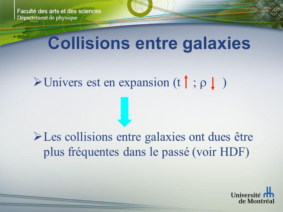 Faculté des arts et des sciences Département de physique Collisions entre galaxies Univers est en expansion (t ; ) Les collisions entre galaxies ont dues être plus fréquentes dans le passé (voir HDF)