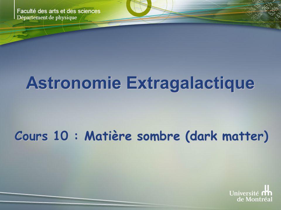 Faculté des arts et des sciences Département de physique Astronomie Extragalactique Cours 10 : Matière sombre (dark matter)