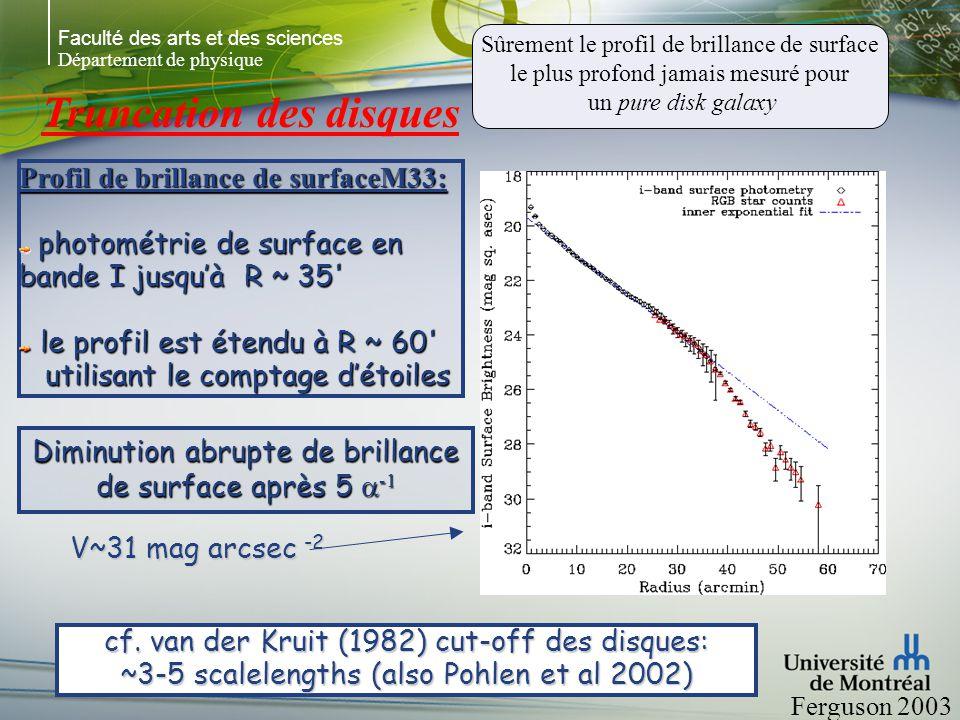 Faculté des arts et des sciences Département de physique La troncation du disque de M 33 Ferguson et al 2003 M33 est une pure disk galaxy du Groupe Local