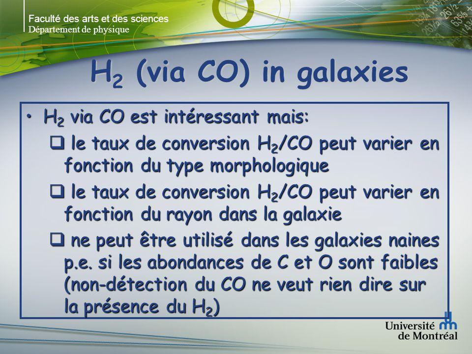 Faculté des arts et des sciences Département de physique H 2 (via CO) in galaxies (Sakamoto et al.