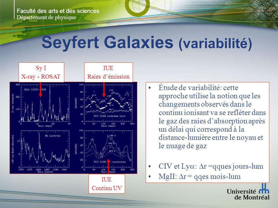 Faculté des arts et des sciences Département de physique Seyfert Galaxies (variabilité) Étude de variabilité: cette approche utilise la notion que les