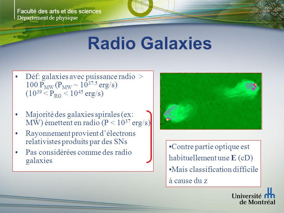 Faculté des arts et des sciences Département de physique Radio Galaxies Déf: galaxies avec puissance radio > 100 P MW (P MW ~ 10 37.5 erg/s) (10 39 <