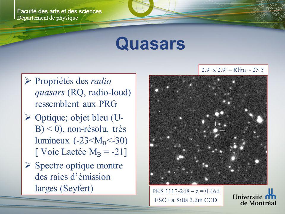 Faculté des arts et des sciences Département de physique Quasars Propriétés des radio quasars (RQ, radio-loud) ressemblent aux PRG Optique; objet bleu