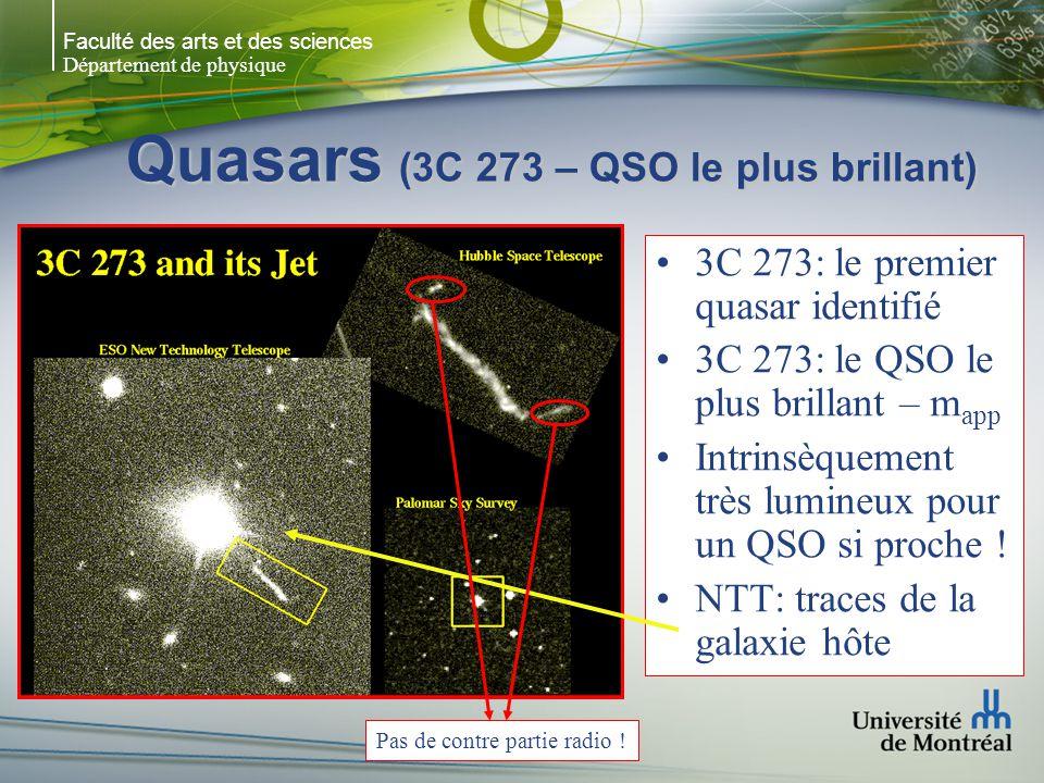 Faculté des arts et des sciences Département de physique Quasars (3C 273 – QSO le plus brillant) 3C 273: le premier quasar identifié 3C 273: le QSO le