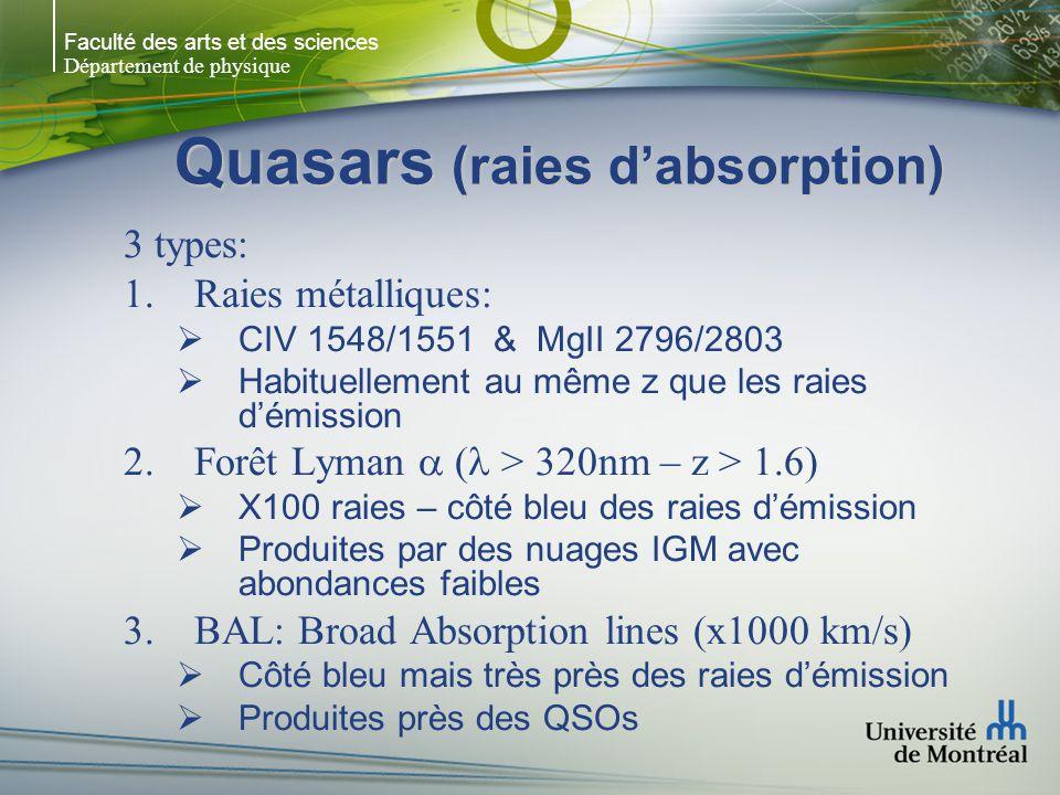 Faculté des arts et des sciences Département de physique Quasars (raies dabsorption) 3 types: 1.Raies métalliques: CIV 1548/1551 & MgII 2796/2803 Habi