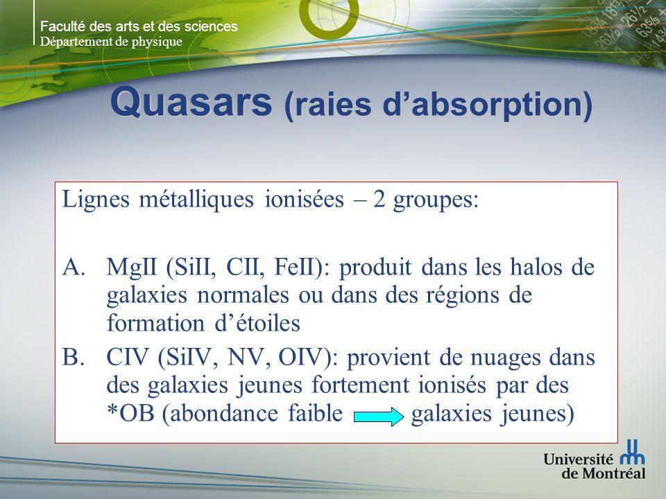 Faculté des arts et des sciences Département de physique Quasars (raies dabsorption) Lignes métalliques ionisées – 2 groupes: MgII (SiII, CII, FeII):