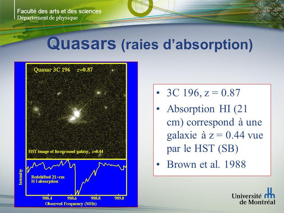 Faculté des arts et des sciences Département de physique Quasars (raies dabsorption) 3C 196, z = 0.87 Absorption HI (21 cm) correspond à une galaxie à