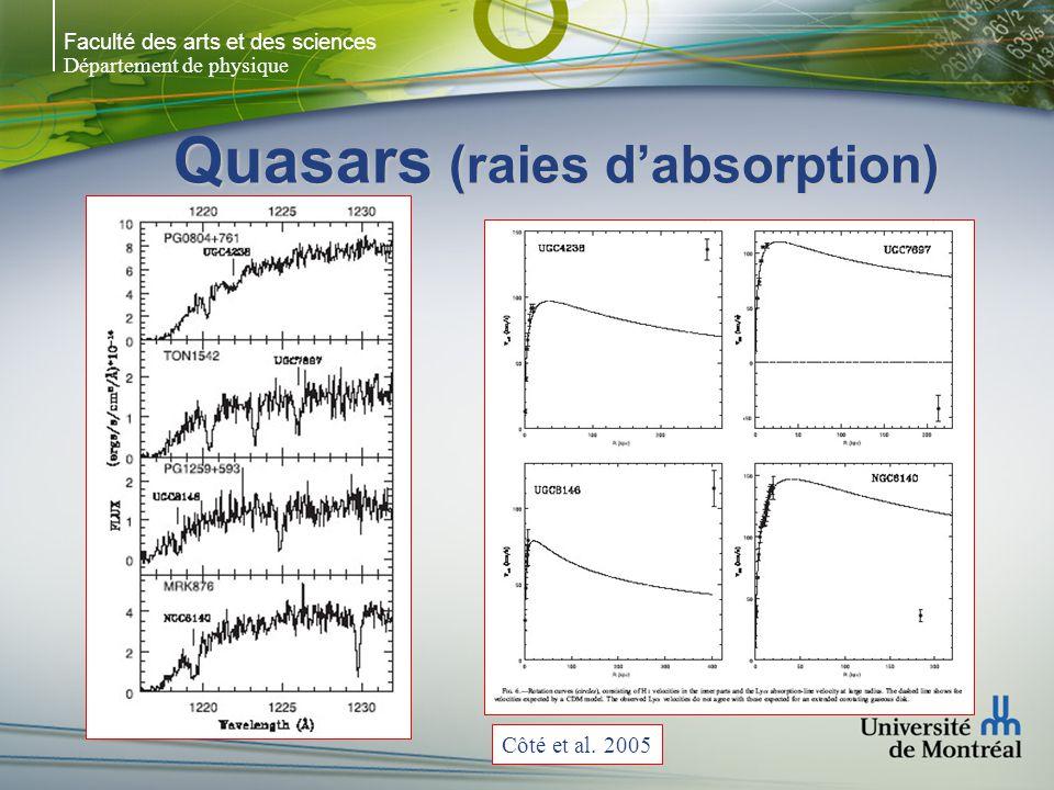 Faculté des arts et des sciences Département de physique Quasars (raies dabsorption) Côté et al. 2005