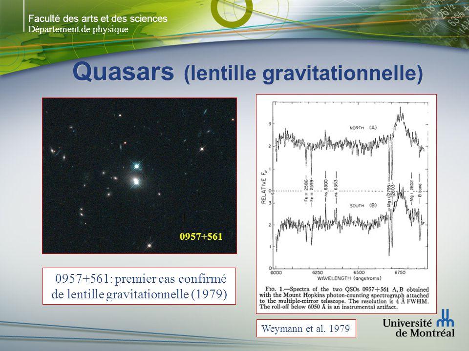Faculté des arts et des sciences Département de physique Quasars (lentille gravitationnelle) Weymann et al. 1979 0957+561 0957+561: premier cas confir