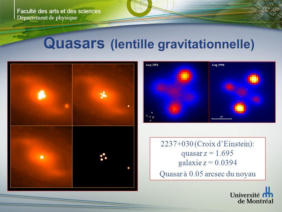 Faculté des arts et des sciences Département de physique Quasars (lentille gravitationnelle) 2237+030 (Croix dEinstein): quasar z = 1.695 galaxie z =
