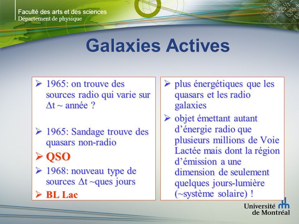 Faculté des arts et des sciences Département de physique Seyfert Galaxies (NGC 1068) Classé Sy 2 mais en fait contient un noyau Sy 1 obscurci par un tore de poussière (+ produit un jet perpendiculaire au plan du disque) Probablement que plusieurs Sy 2 sont en fait des Sy 1 (si on les voyait sous le bon angle – selon laxe du tore) Sy 2 Sy 1