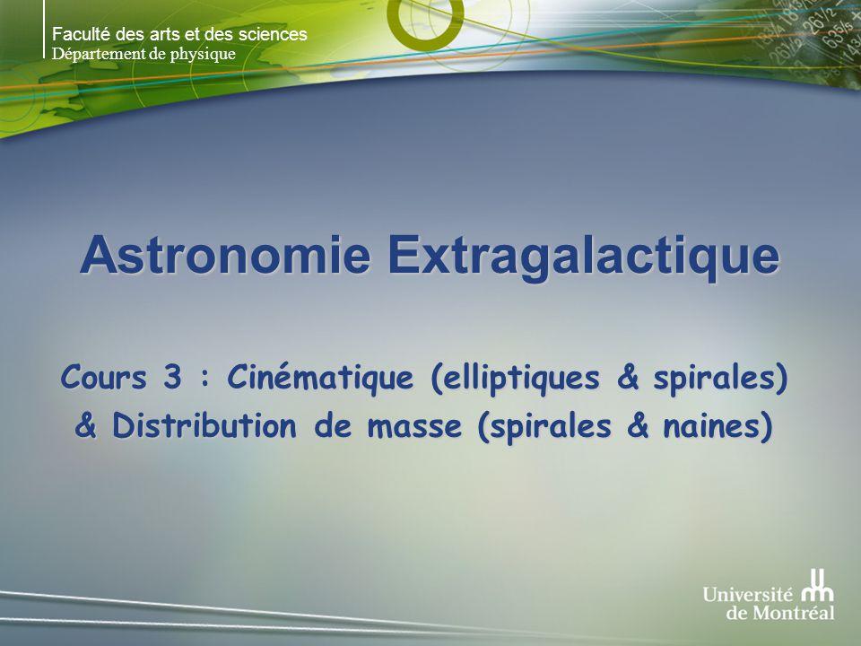 Faculté des arts et des sciences Département de physique Astronomie Extragalactique Cours 3 : Cinématique (elliptiques & spirales) & Distribution de masse (spirales & naines)