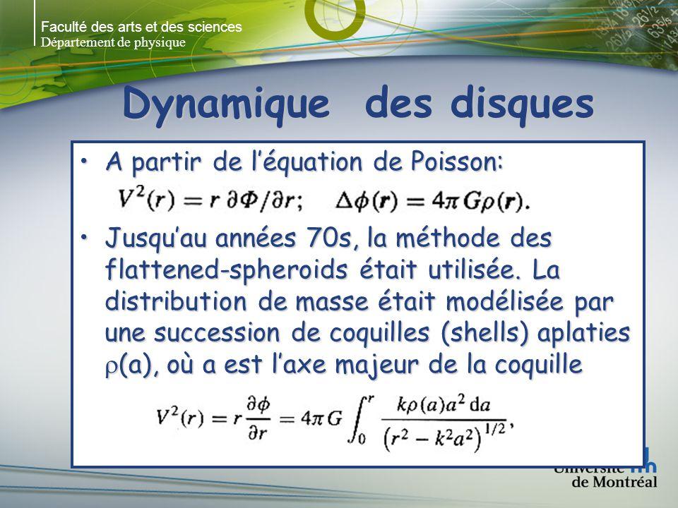 Faculté des arts et des sciences Département de physique Dynamique des disques A partir de léquation de Poisson:A partir de léquation de Poisson: Jusquau années 70s, la méthode des flattened-spheroids était utilisée.