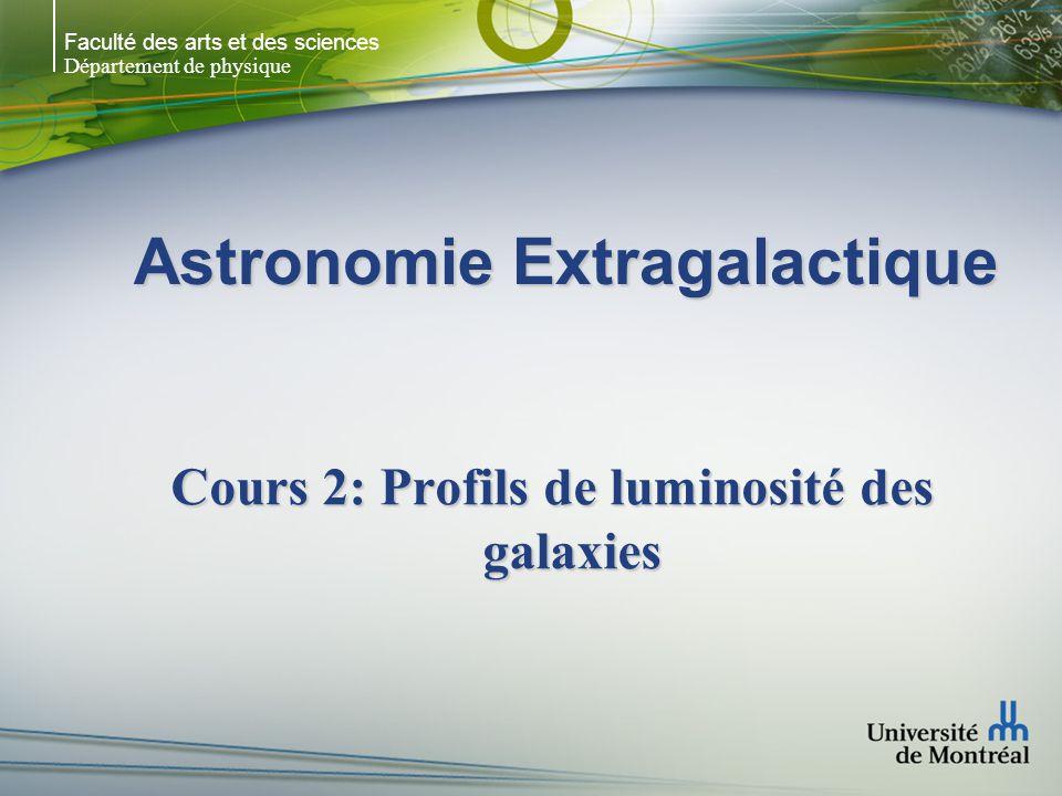 Faculté des arts et des sciences Département de physique Astronomie Extragalactique Cours 2: Profils de luminosité des galaxies