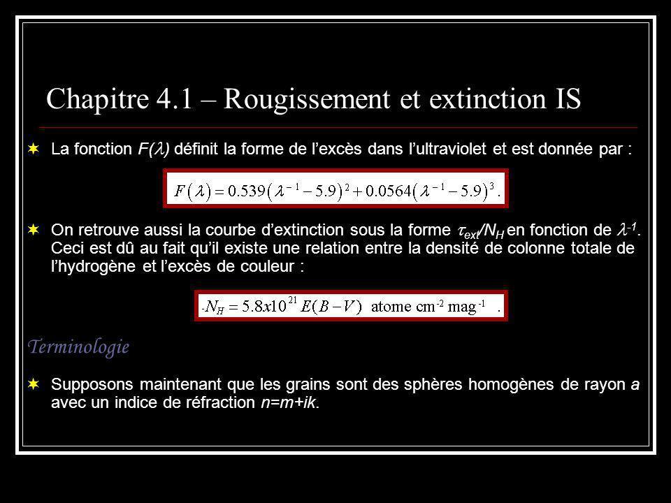 Chapitre 4.1 – Rougissement et extinction IS La partie imaginaire de cet indice correspond à labsorption.