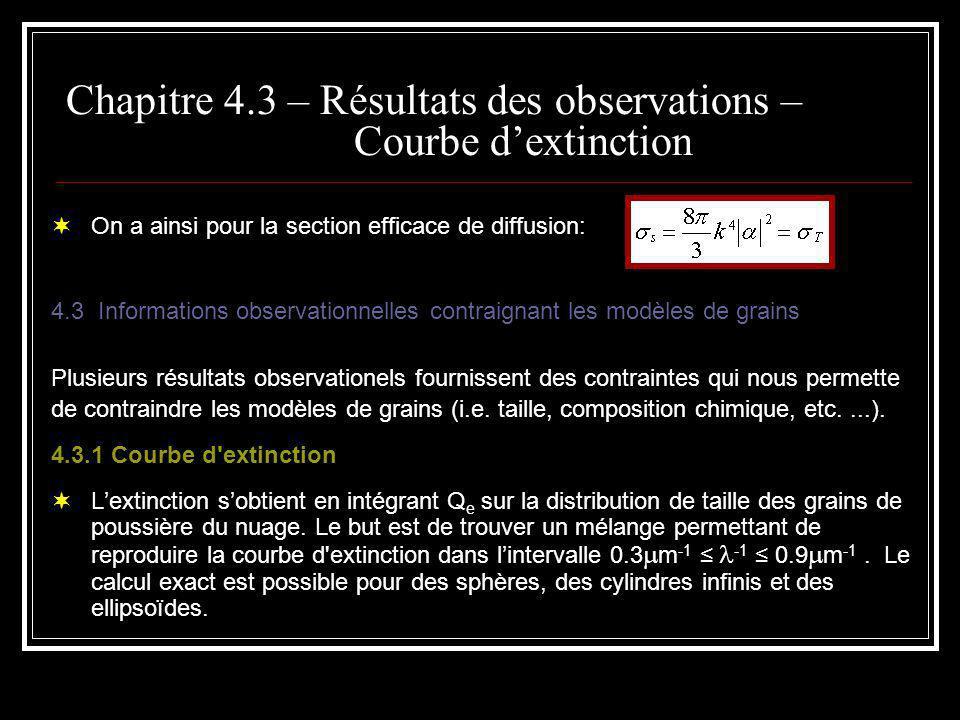 Chapitre 4.3 – Résultats des observations – Courbe dextinction On a ainsi pour la section efficace de diffusion: 4.3 Informations observationnelles contraignant les modèles de grains Plusieurs résultats observationels fournissent des contraintes qui nous permette de contraindre les modèles de grains (i.e.