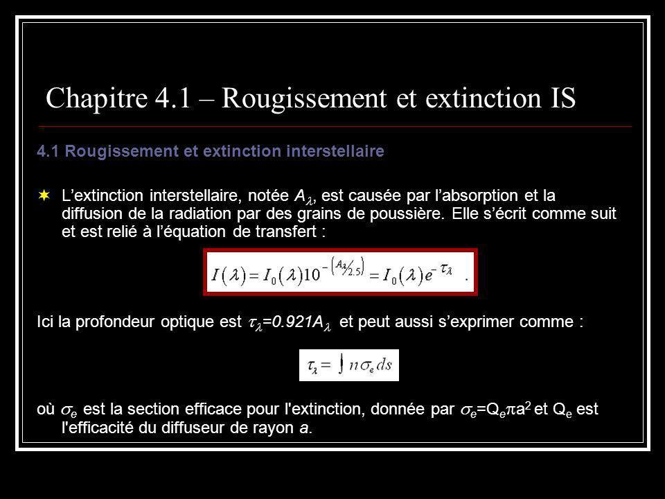 Chapitre 4.1 – Rougissement et extinction IS 4.1 Rougissement et extinction interstellaire Lextinction interstellaire, notée A, est causée par labsorption et la diffusion de la radiation par des grains de poussière.