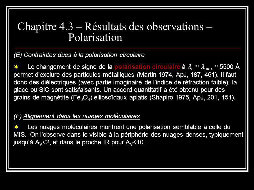 (E) Contraintes dues à la polarisation circulaire Le changement de signe de la polarisation circulaire à c max 5500 Å permet d exclure des particules métalliques (Martin 1974, ApJ, 187, 461).