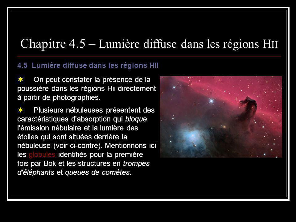 Chapitre 4.5 – Lumière diffuse dans les régions H II La poussière diffuse la radiation dans le continu en provenance des étoiles enfouies dans les nébuleuses, ce qui produit un continu nébulaire.