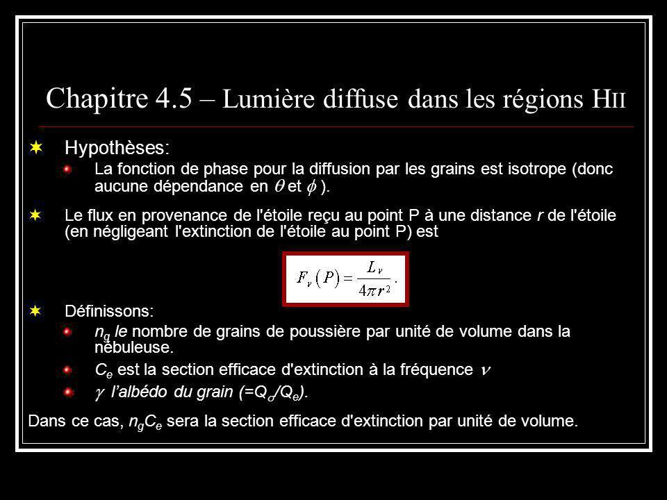 Chapitre 4.5 – Lumière diffuse dans les régions H II Le coefficient d émission par unité de volume par angle solide dû à la diffusion est: En intégrant le long d une ligne qui passe à une distance b du centre de l étoile, on obtient l intensité du rayonnement continu diffusé: où le rayon de la nébuleuse sphérique et homogène est r 0.