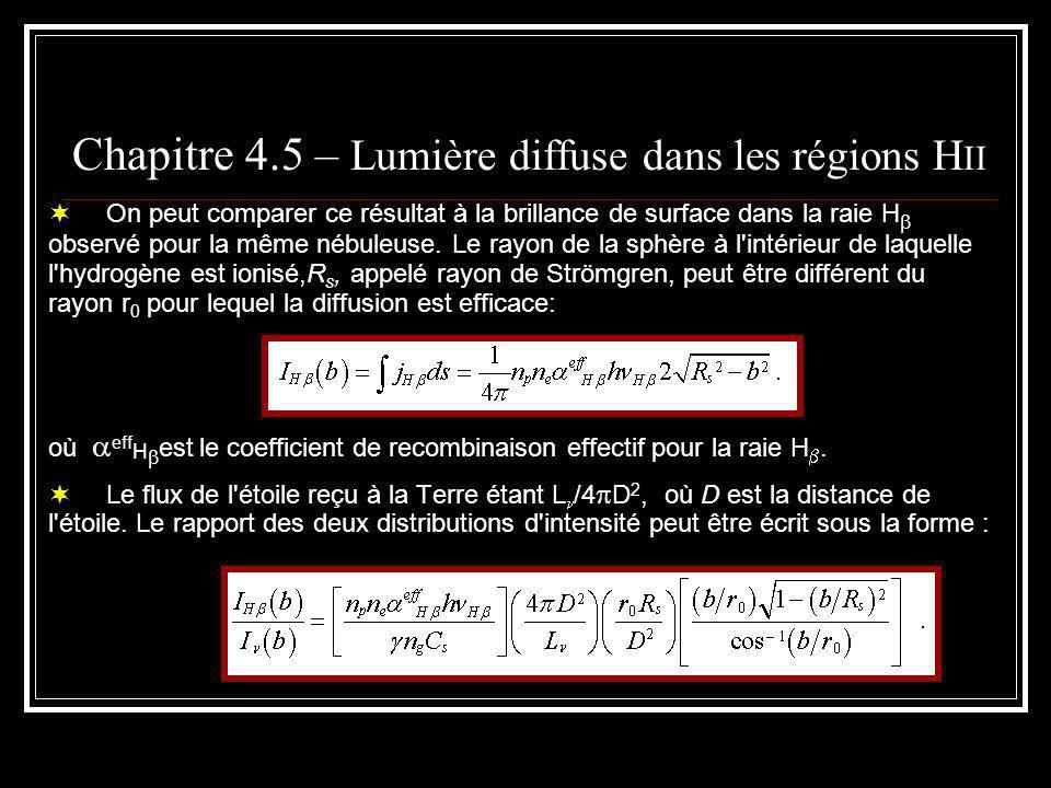 Chapitre 4.5 – Lumière diffuse dans les régions H II On peut comparer ce résultat à la brillance de surface dans la raie H observé pour la même nébuleuse.