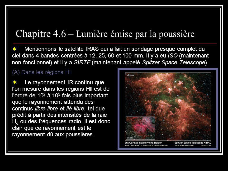 Chapitre 4.6 – Lumière émise par la poussière En première approximation, la poussière émet comme un corps noir.