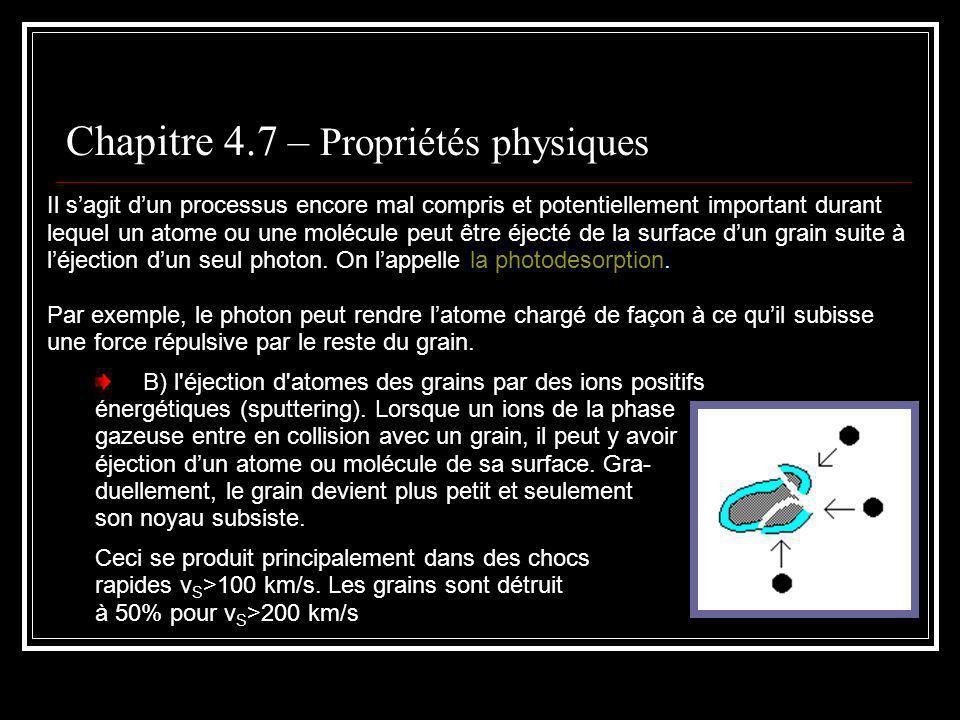 Chapitre 4.7 – Propriétés physiques Il sagit dun processus encore mal compris et potentiellement important durant lequel un atome ou une molécule peut être éjecté de la surface dun grain suite à léjection dun seul photon.