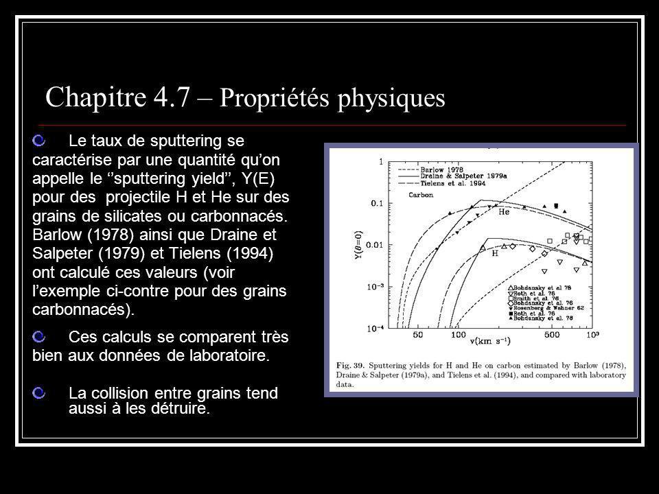 Le taux de sputtering se caractérise par une quantité quon appelle le sputtering yield, Y(E) pour des projectile H et He sur des grains de silicates ou carbonnacés.