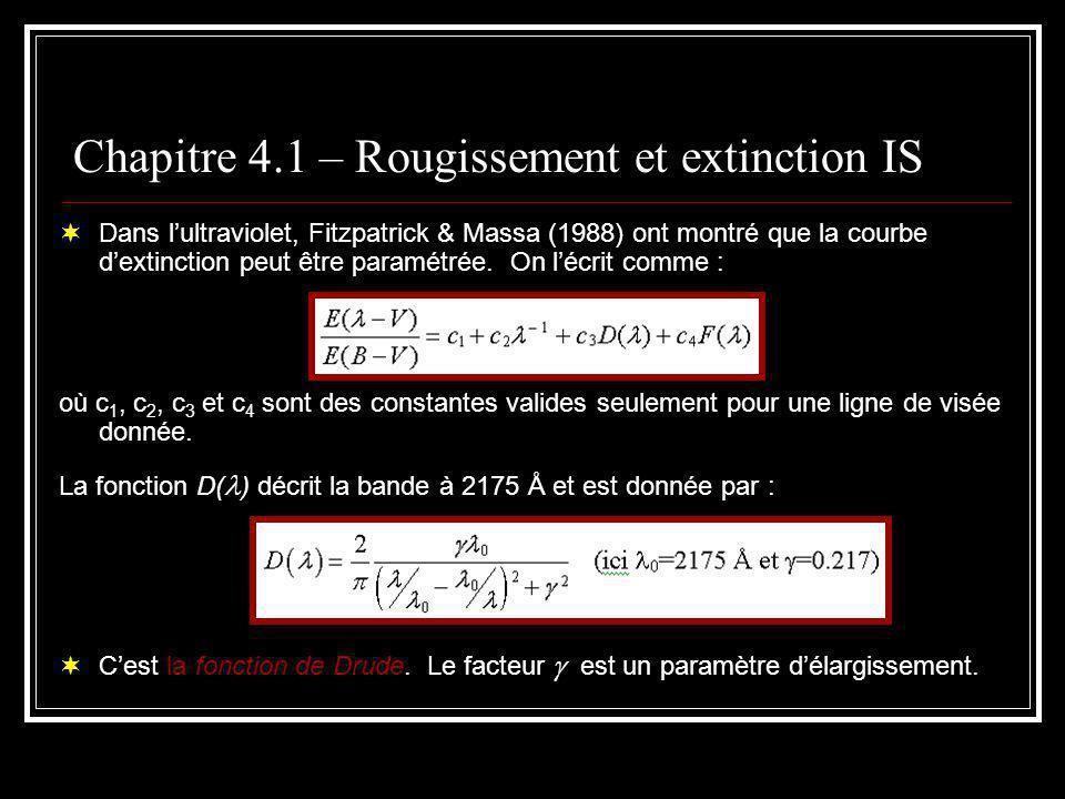 Chapitre 4.1 – Rougissement et extinction IS La fonction F( ) définit la forme de lexcès dans lultraviolet et est donnée par : On retrouve aussi la courbe dextinction sous la forme ext /N H en fonction de -1.