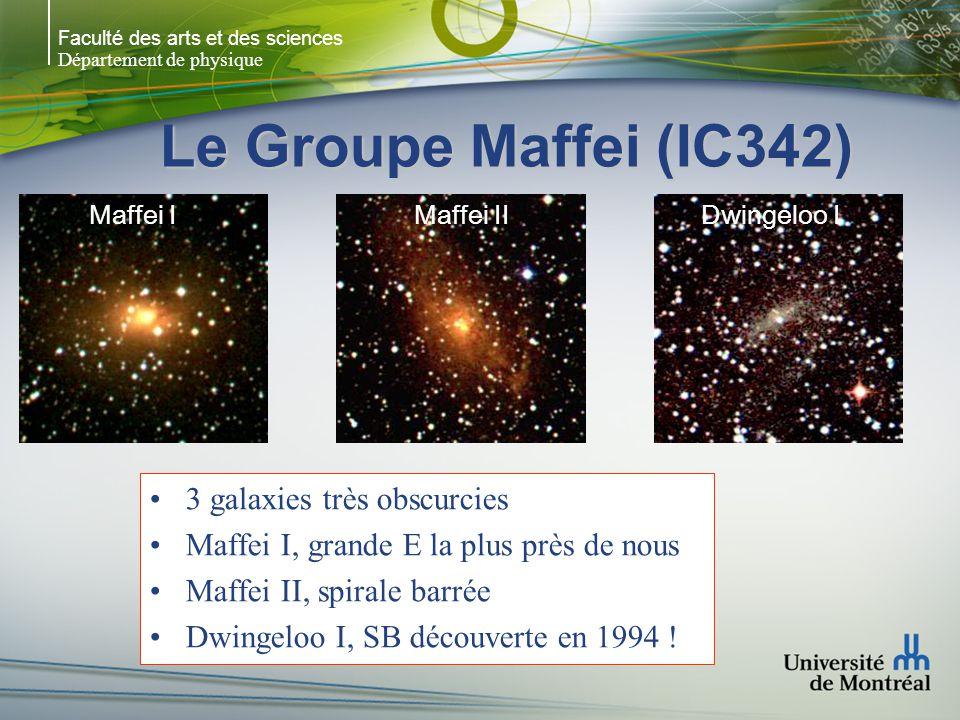 Faculté des arts et des sciences Département de physique Le Groupe Maffei (IC342) NGC 1560: Sp ou Irr vue par la tranche NGC 1569: naine, exemple le plus proche de starburst UGCA 105: naine (structure spirale ?) NGC 1560NGC 1569UGCA 105