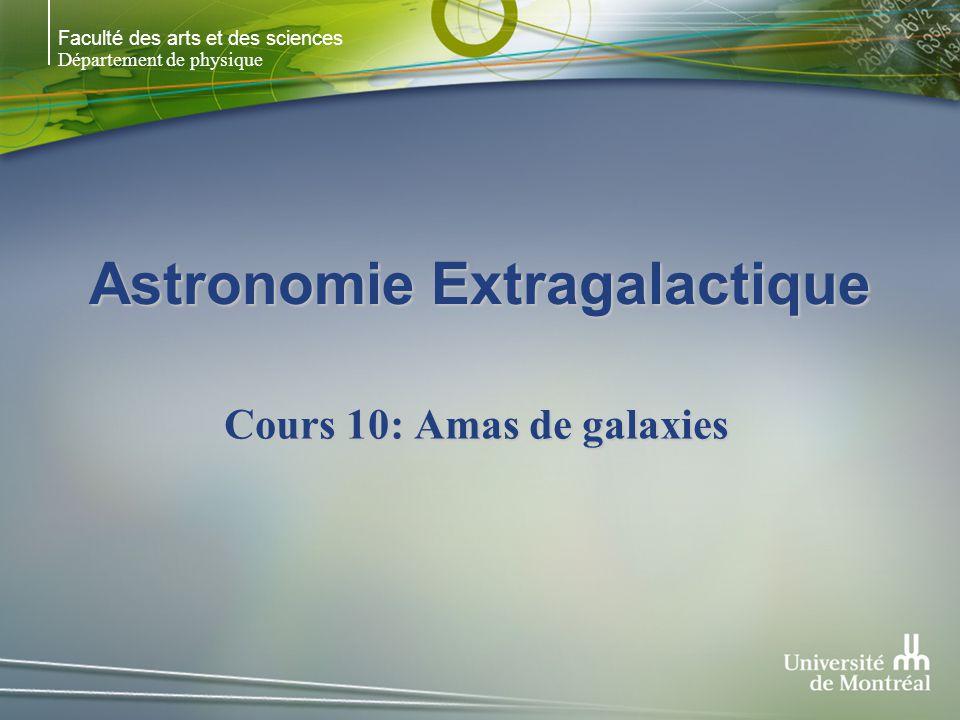 Faculté des arts et des sciences Département de physique Astronomie Extragalactique Cours 10: Amas de galaxies