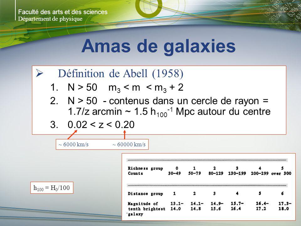 Faculté des arts et des sciences Département de physique Crossing time T cr = temps requis pour une galaxie voyageant dans un amas à une vitesse v traverse le rayon R T cr = R/v ~ 6 x 10 8 ans x [(R/Mpc)/ v r /10 3 km/s)] V r = vitesse radiale observée Symétrie sphérique v 2 = 3v r 2 R = 10 Mpc T cr = 6 x 10 9 ans < temps de Hubble R > 35Mpc (régions extérieures dun super-amas) T cr > temps de Hubble (pas le temps de passer au centre)
