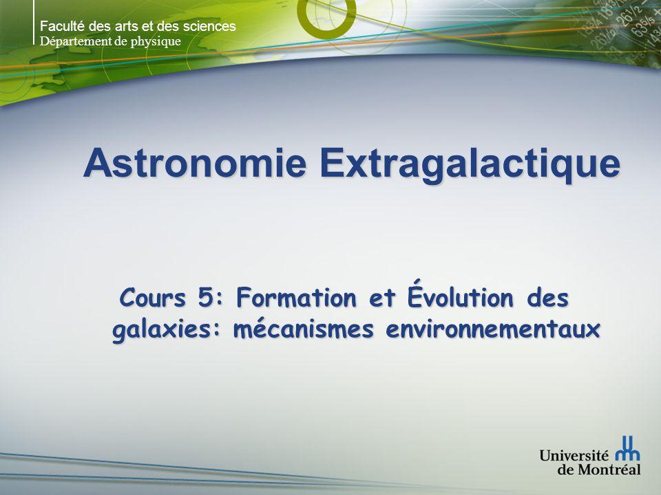 Faculté des arts et des sciences Département de physique Interaction gravitationnelle Le tidal stripping (matériel arraché à M par le passage proche dune autre galaxie m) se produit lorsque la limite de Roche (comme pour les systèmes détoiles binaires) est atteint (F m > F M ): Le tidal stripping (matériel arraché à M par le passage proche dune autre galaxie m) se produit lorsque la limite de Roche (comme pour les systèmes détoiles binaires) est atteint (F m > F M ): R = (2M/m) 1/3 r Ex: M CD ~ 500 x m – tidal disruption R=10r Ex: M CD ~ 500 x m – tidal disruption R=10r Force de Marée: F ~ GMmr/R 3 -> diminue rapidement Force de Marée: F ~ GMmr/R 3 -> diminue rapidement