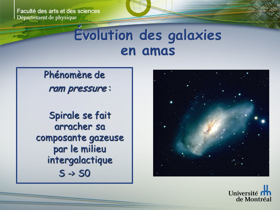 Faculté des arts et des sciences Département de physique Évolution des galaxies en amas Phénomène de ram pressure : Spirale se fait arracher sa compos