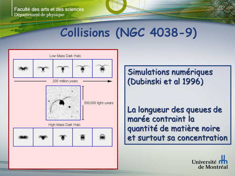 Faculté des arts et des sciences Département de physique Simulations numériques (Dubinski et al 1996) La longueur des queues de marée contraint la qua