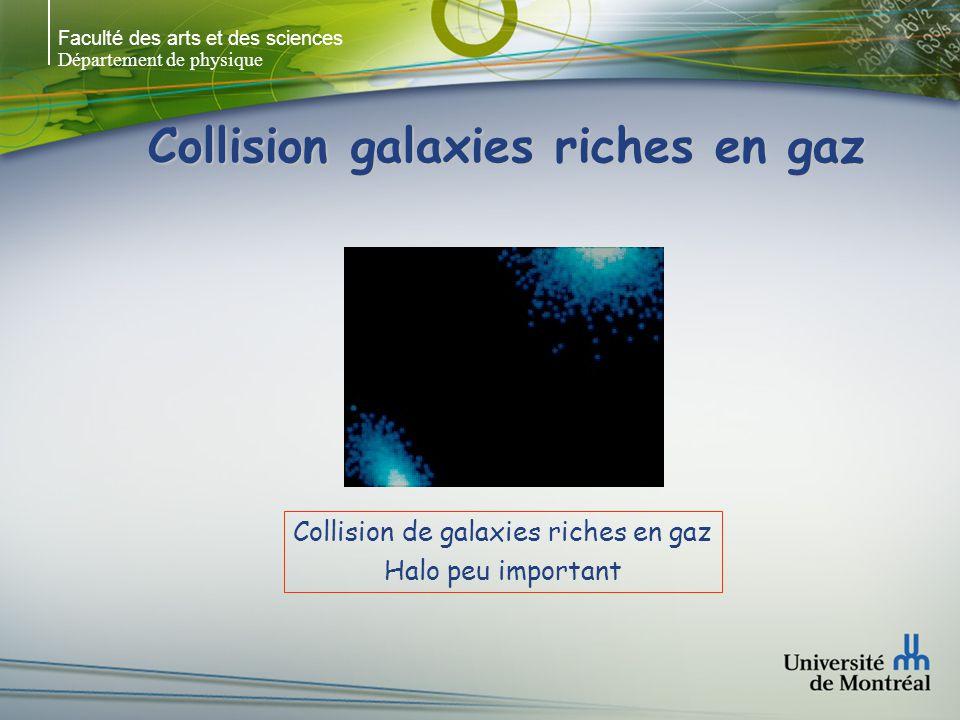 Faculté des arts et des sciences Département de physique Collision galaxies riches en gaz Collision de galaxies riches en gaz Halo peu important