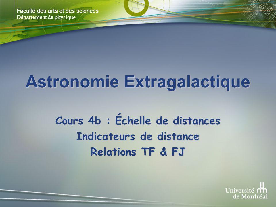 Faculté des arts et des sciences Département de physique Astronomie Extragalactique Cours 4b : Échelle de distances Indicateurs de distance Relations TF & FJ
