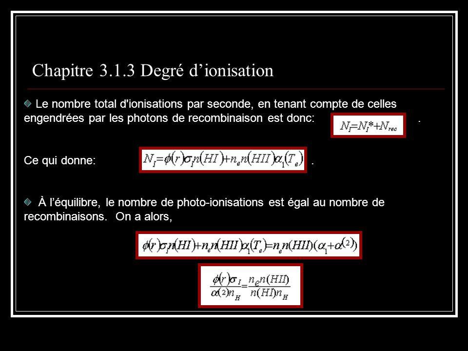 Chapitre 3.1.3 Degré dionisation Le nombre total d ionisations par seconde, en tenant compte de celles engendrées par les photons de recombinaison est donc:.
