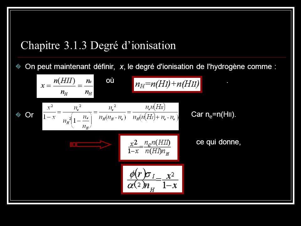 Chapitre 3.1.3 Degré dionisation On peut maintenant définir, x, le degré d ionisation de l hydrogène comme : où.