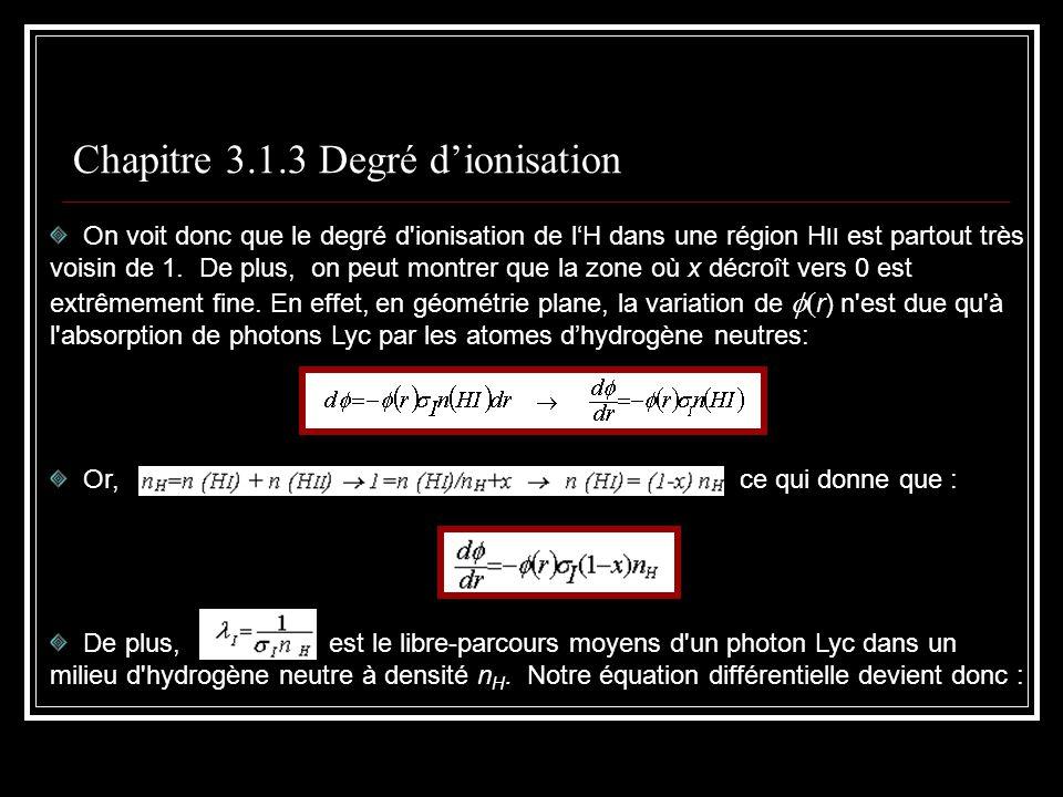 Chapitre 3.1.3 Degré dionisation On voit donc que le degré d ionisation de lH dans une région H II est partout très voisin de 1.