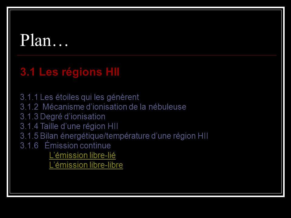 Chapitre 3.1 Les régions HII 3.1 Les régions H II 3.1.1 Les étoiles qui les génèrent Autour d une étoile chaude, Il y a une région de gaz photoionisée quon appelle: région H II.