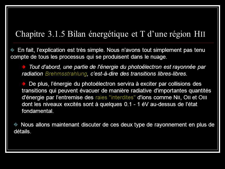 Chapitre 3.1.5 Bilan énergétique et T dune région H II En fait, lexplication est très simple.