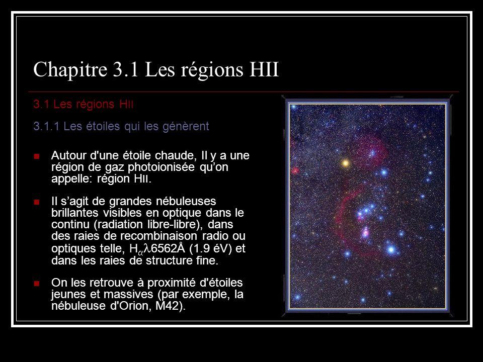 Chapitre 3.1.7 Les raies de recombinaison On peut utiliser ces valeurs calculées pour estimer le rougissement interstellaire et donc lextinction dans la direction de la nébuleuse.