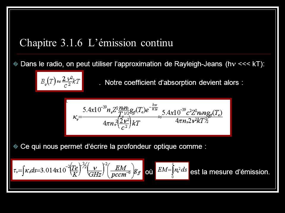Chapitre 3.1.6 Lémission continu Dans le radio, on peut utiliser lapproximation de Rayleigh-Jeans (h <<< kT):.