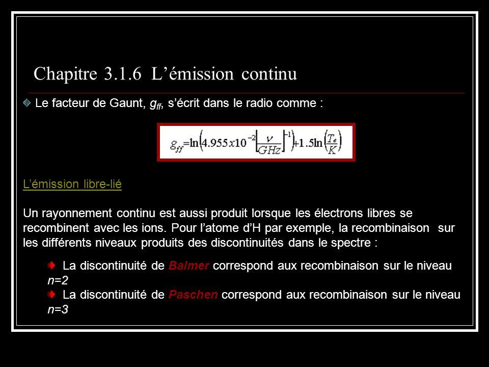 Chapitre 3.1.6 Lémission continu Le facteur de Gaunt, g ff, sécrit dans le radio comme : Lémission libre-lié Un rayonnement continu est aussi produit lorsque les électrons libres se recombinent avec les ions.