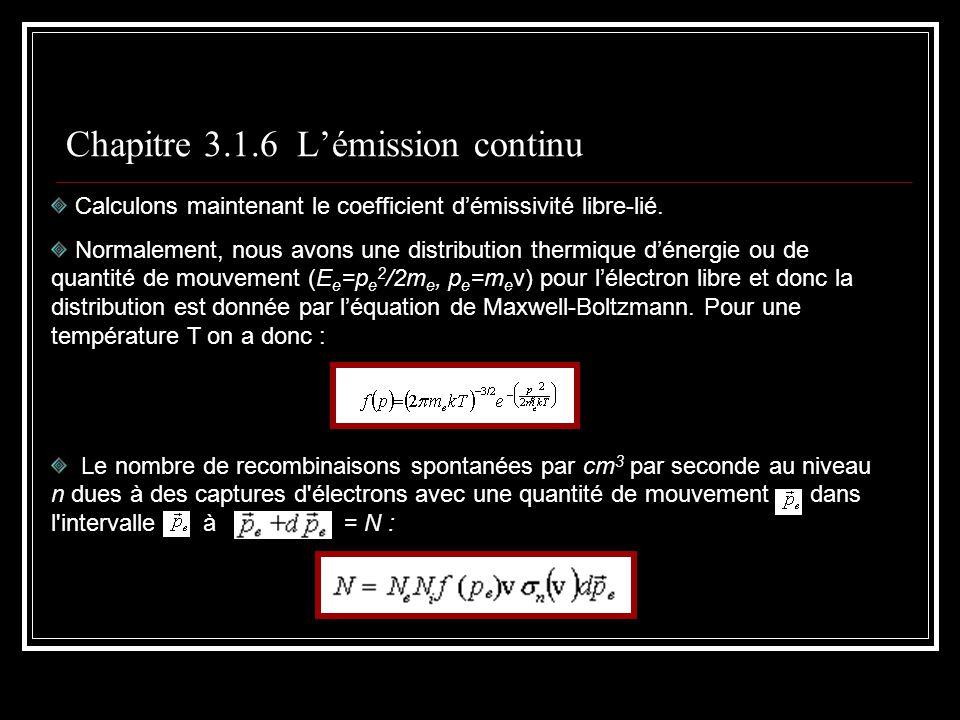 Chapitre 3.1.6 Lémission continu Calculons maintenant le coefficient démissivité libre-lié.